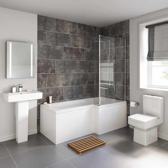 1700x850mm Belfort Shower Bath Suite - L Shaped Right Handed .
