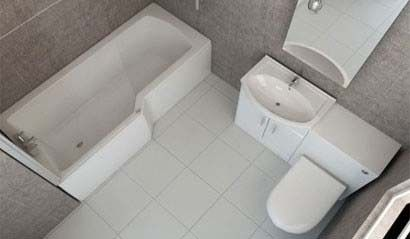 L Shape Shower Bath Bathroom Suite with Vanity Furniture   Small .