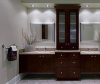 Contemporary Bathroom with Storage Cabinets - Kitchen Cra
