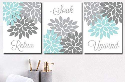 Amazon.com: Aqua Gray Bathroom Wall Art Canvas or Prints Flower .