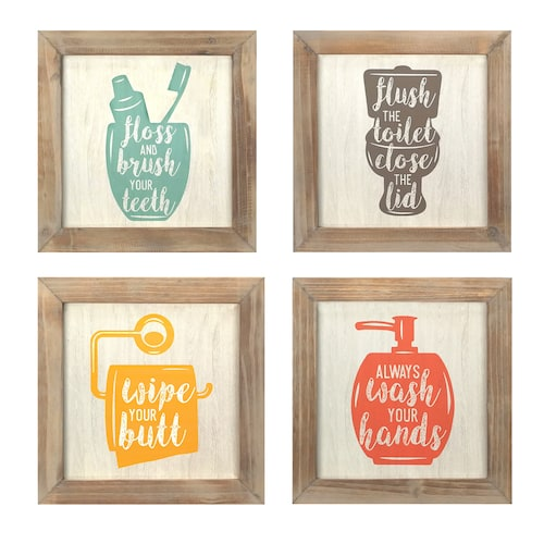 Stratton Home Decor Bathroom Wall Decor 4-piece S