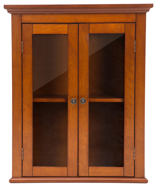 "24.1""H Wooden Bathroom Wall Storage Cabinet With Double Doors ."