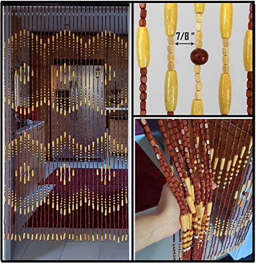 Amazon.com: BeadedString Wood Beaded Curtain-31 Strands-72 High .