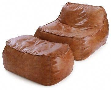 Rust Leather Bean Bag Lounge Chair & Ottoman contemporary-bean-bag .