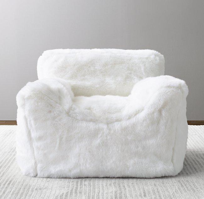 Luxe Faux Fur Bean Bag Chair - Whi