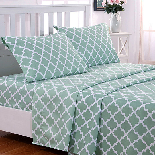 Buy Egyptian Luxury 1800 Thread Count Quatrefoil Pattern 4 Piece .