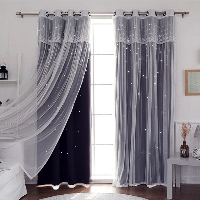 SunnyRain 1 Piece Double layer Hollow out Stars Curtain For .