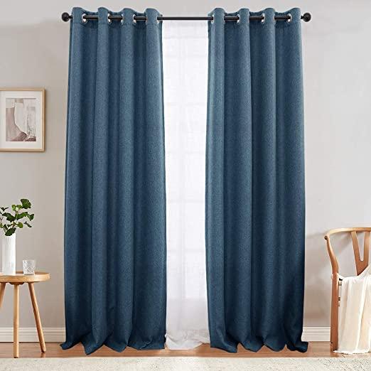 Amazon.com: jinchan 2 Panels Blackout Curtains Blue 95 inch .