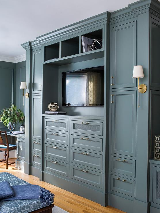 Gray Built In Bedroom Cabinets with TV - Transitional - Bedro