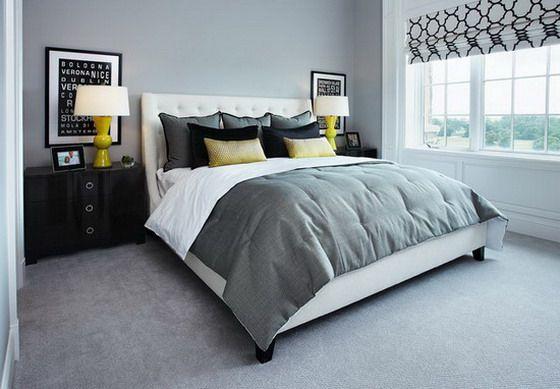Grey Carpet Bedroom Ideas | Grey bedroom design, Blue gray bedroom .