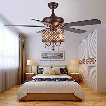 ANFERSONLIGHT Rustic Ceiling Fan with Light Kit Crystal .