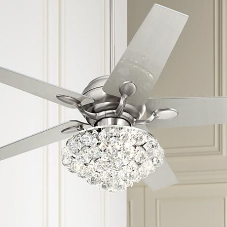 "52"" Casa Optima Brushed Steel Crystal Ceiling Fan - #86646 ."