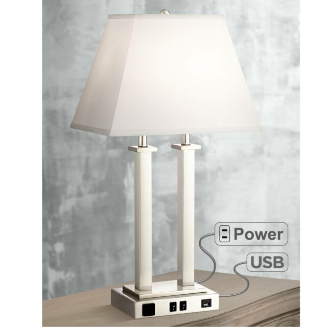 Modern Table Lamp with USB Brushed Steel Side Outlet for Bedroom .