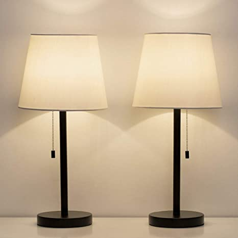 HAITRAL Bedside Table Lamps Set of 2 - Black and White Modern Desk .