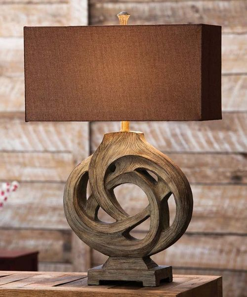 Rustic Lamp Infinity Branch Cabin Lamp Collection | Rustic table .