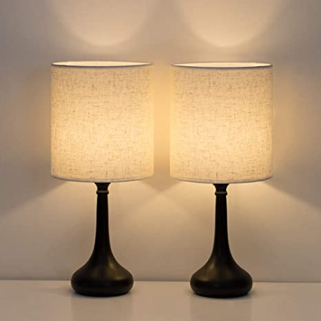 Amazon.com: HAITRAL Bedside Table Lamps Set of 2 - Modern .