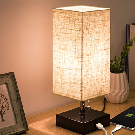 ZEEFO USB Table Lamp, Modern Design Bedside Table Lamps with USB .