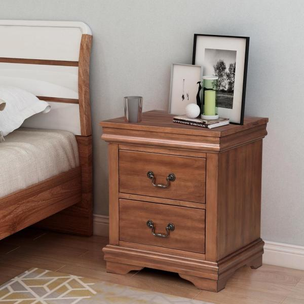 Boyel Living Traditional Walnut Nightstand Bedside Table 2-Drawers .