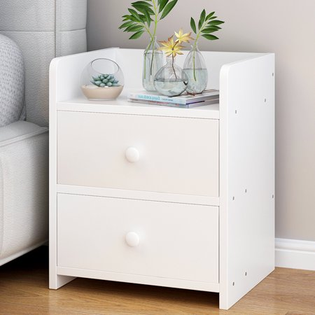 Greensen MDF Wood Nightstand with 2 Drawers Bedside Table for .