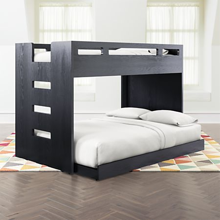 Abridged Charcoal Glaze Twin Over Full Bunk Bed with Left Ladder + .