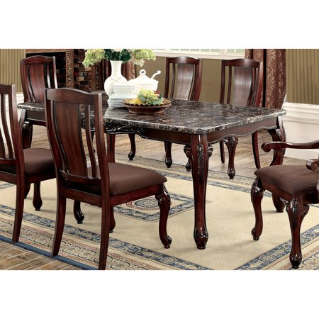 Furniture of America Delaine Traditional Faux Marble Top Dining .
