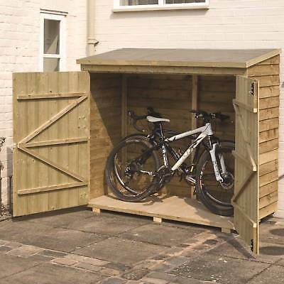 Buckthorn 6 x 3 Wooden Bike Shed Wall Storage Organizer Bike .