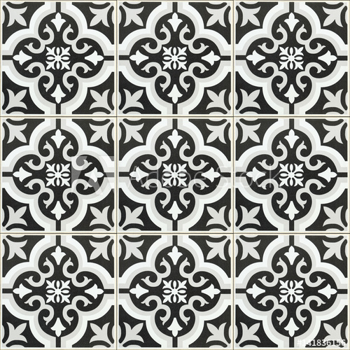 black and white ceramic tile texture for background and design .