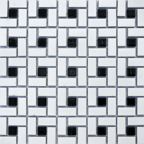 Pinwheel Ceramic Mosaic With Black Dot - Vintage Bathroom Ideas .