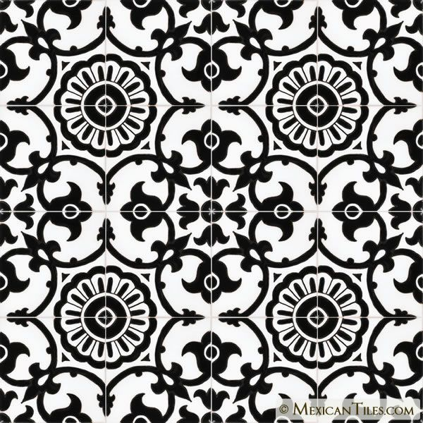 Mexican Tile - Avidan Black & White 1 Gloss Malibu Ceramic .