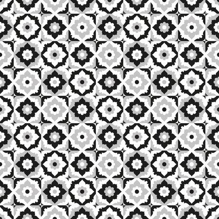 Seamless Pattern Black And White Ceramic Tile Design With Floral .