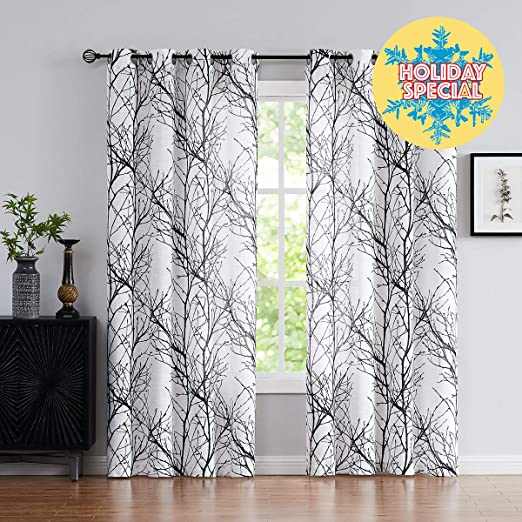 Amazon.com: Fmfunctex Black White Sheer Curtains for Living-Room .
