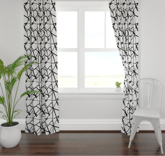 Black white lines curtains ribbon curtains black white | Et