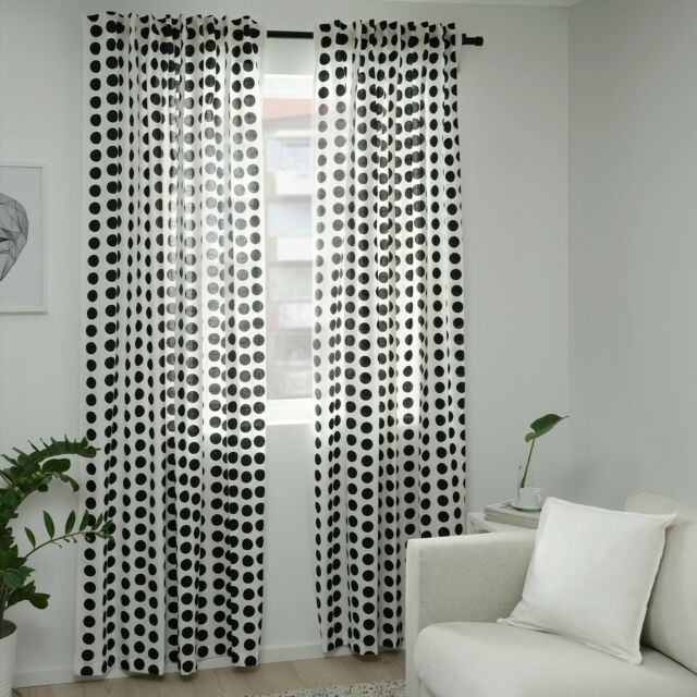 Klarastina Curtains 1 Pair White/black 145x250 Cm *brand Ikea* for .