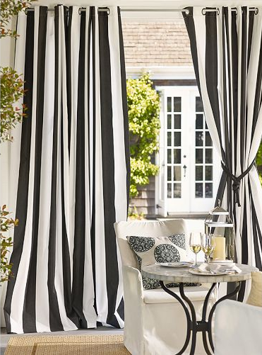 black and white drapes pottery barn | Outdoor grommet curtai