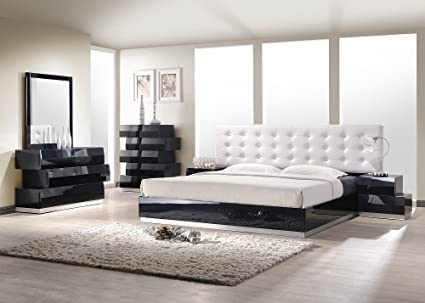 Amazon.com: J&M Furniture Milan Black Lacquer With White .