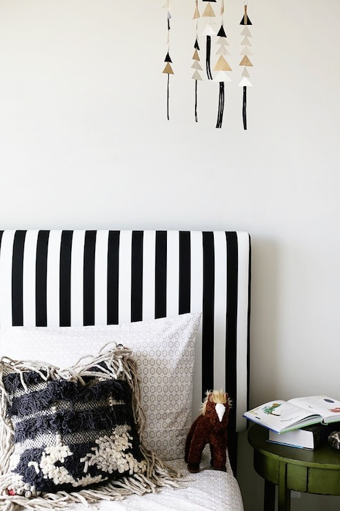 Black and White Stripe Headboard - Transitional - boy's room - UV .