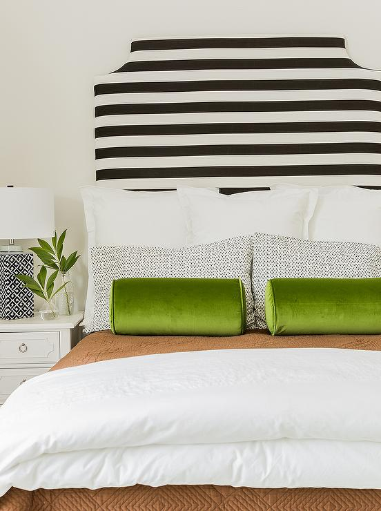 Black and White Striped Headboard with Green Velvet Bolster .