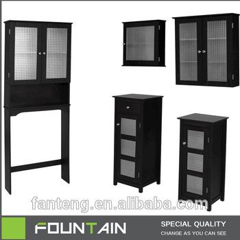 Double Glass Door Bathroom Storage Cabinet Above Toilet In Black .