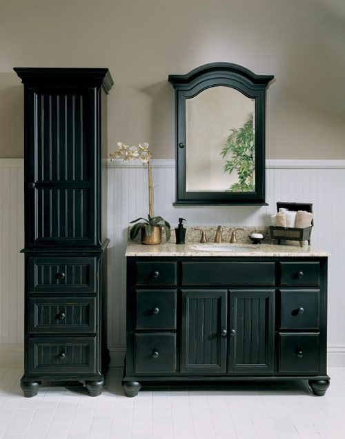 Black is the New Black | Black cabinets bathroom, Black vanity .