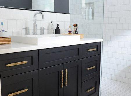Black Bathroom Vanity with Gold Hardware, Vintage, Bathroom .