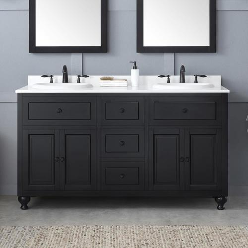 OVE Decors Kensington 60-in Antique Black Double Sink Bathroom .