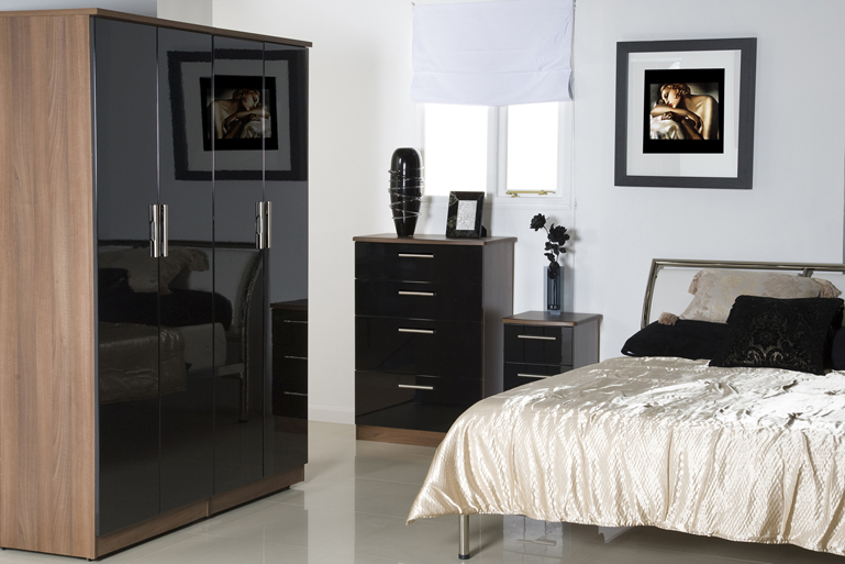 Bedroom furniture black gloss and walnut | Home Decor & Interior .