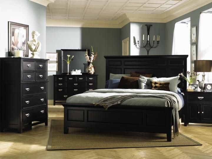 25 Dark Wood Bedroom Furniture Decorating Ideas | Black bedroom .