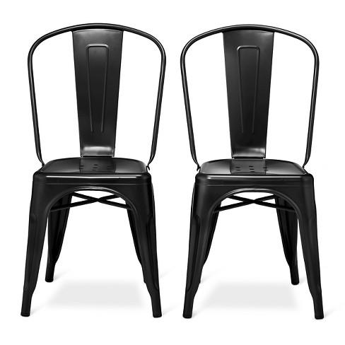 Set Of 2 Carlisle High Back Metal Dining Chair Black - Ace Bayou .