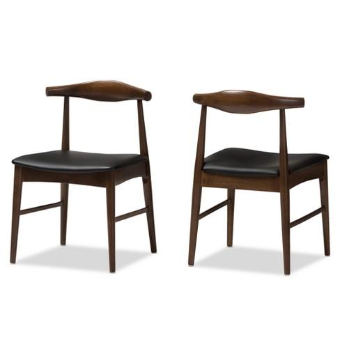 Set Of 2 Winton Mid Century Modern Walnut Wood Dining Chairs Black .