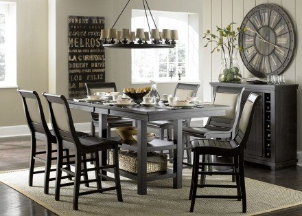 Willow Distressed Black Rectangular Counter Height Dining Room Set .