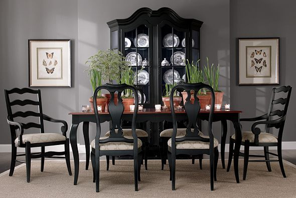 Love the black dining room furniture with the grey walls.. (With .