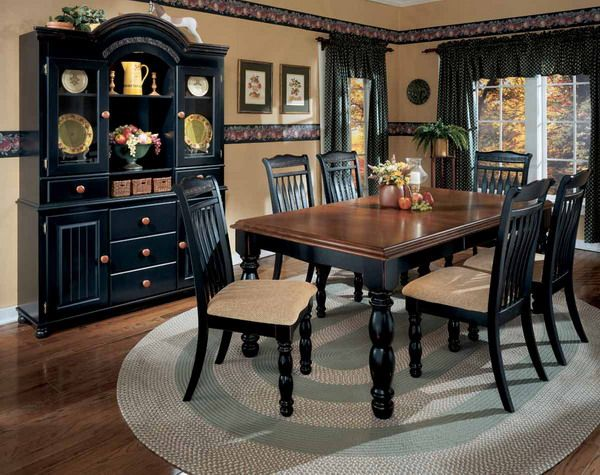 ashley black dining room set | Black dining room furniture .