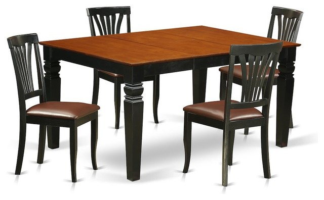 5-Piece Kitchen Table Set With a Table and 4 Leather Dining Chairs .