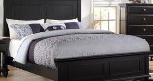 Esofastore Bedroom Black Wood bed frame Headboard Footboard .